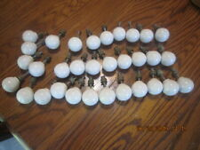 Lot of 32 Vintage White Round Porcelain Ceramic Cabinet Drawer Pull Knobs