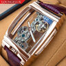 Mens Rose Gold Bridge Manual Mechanical Watch - Purple Leather DIASTERIA 1688