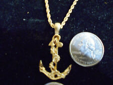 bling gold plated boat anchor boat navy pendant charm necklace hip hop jewelry