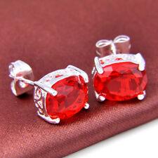 Christmas Red Teardrop Style Fire Garnet Gemsone Silver Stud  Earrings As Gift