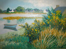 LISTED ARTIST FLORENCE ARVEN (French 1952 - ) OIL PAINTING LAKE LANDSCAPE BOAT