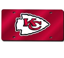 Kansas City Chiefs Red Mirrored Laser Cut License Plate Laser Tag