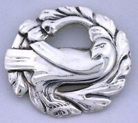 Sterling Bird Dove Floral CC Coro Craft Round Wreath Vintage Brooch Pin ebs5191