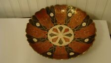 "Vintage Beautiful Solid Brass Colorful Enamel Bowl 9.2"" in diameter"