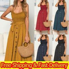 Women Summer Sleeveless Polka Dot Beach Dresses Ladies Stretch Holiday Sundress