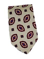 Coach 100% silk tie tan beige burgundy design 58 long mens necktie handmade