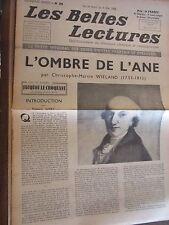 Les Belles Lectures N°109 du 28 Avril au 4 Mai 1948/ Wieland: L'Ombre de l'Âne