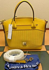 $348 NWT Dooney & Bourke Beacon Woven Leather Domed Satchel Purse Shoulder Bag