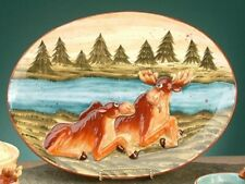 "Moose Plate Serving Wild Animal Woodland Theme Decorative 15"" x 12"" New"