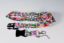 Sticker Bomb Graffiti JDM Lanyard Cell Phone Holders Neck Strap ID Key Chain