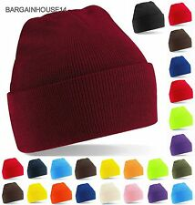 Knitted Beanie Hat Mens Ladies Unisex Wool Winter Warm Skiing Cap + Fast Post UK