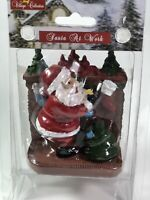 village collection figurine Santa Claus at work w/ toy bag at Christmas Tree New