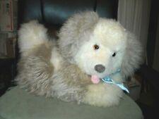 "16X11"" huge puppy Maxwell Hay Lambskin Wool Sheep cream plush puppy head moves"