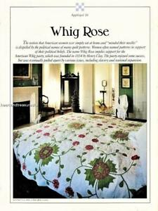 Whig Rose Best Loved Quilt Pattern w/ Flexible Applique Plastic Templates