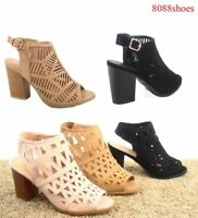 Women's Cute Open Toe Low Chunky Heel Booties Sandal Shoes Size 6 - 10 NEW