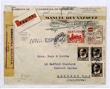 SPAIN Cover CIVIL WAR CENSOR Vigo *Pontevedra* FISH Manufactures GB 1936 CQ100