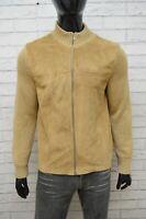 Sisley Uomo Cardigan in Pelle Taglia M Pullover Maglione Felpa Zip Sweater Man