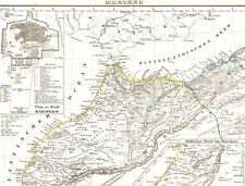Handkolorierte 167 Jahre alte Landkarte MAROKKO المملكة المغ Morocco Tanger 1850