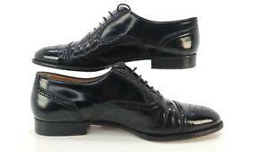 Santoni Oxfords Shoes Black Leather Cap Toe Men's Size 10.5D