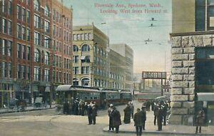 SPOKANE WA - Riverside Avenue Looking West from Howard Street showing Streetcars