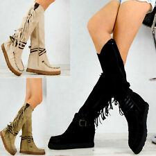 N01 Neu Damen Hochschaft Stiefel Keilabsatz Fransen Damenschuhe Wedge Schuhe