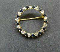Estate 1.00Ct Round Sapphire & Diamond 14k Yellow Gold Over Brooch Pin in UNISEX