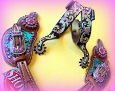 "Combo Spurs +Spur straps Ladies 9"" Western Pink Super Bling Filigree Gift Idea!"