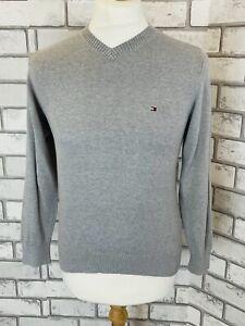 Tommy Hilfiger Men's V Neck Jumper Grey Cotton Size XS