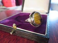 Besonderer 925 Silber Ring Solitär Stein Tigerauge Verzierung Blatt Hippie Ethno