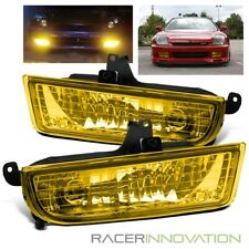 For 97-01 Honda Prelude JDM Yellow Glass LH/RH Fog Lights Bumper Driving Lamps