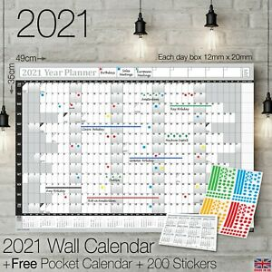 2021 Year Planner Calendar Wall Chart Yearly Planner GREY + FREE 200 Stickers