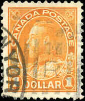 Canada Used VF Scott #122 1925 $1.00 King George V Admiral Stamp