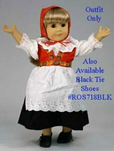 """New - Red and Black Swedish Dress  #804 - fits 18"""" American Girl Dolls"""