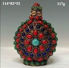 Chinese Old Tibet Silver Cloisonne beads beautiful turquoise snuff bottle