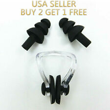 Black Silicone Waterproof Swim Swimming Nose Clip + Ear Plug Earplug Combo Set