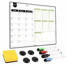 Magnetic Fridge Calendar - Dry Erase Monthly Planner & Bonus Grocery to-do List