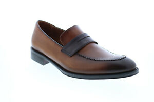 Bruno Magli Arezzo Mens Brown Leather Slip On Loafers & Slip Ons Penny Shoes