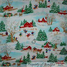 BonEful Fabric Cotton Quilt Deer Green Xmas Tree House Church Barn Scenic SCRAP