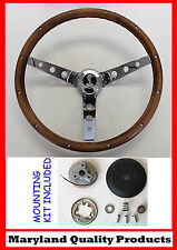 70-77 Ford Mustang Grant Wood Walnut Steering Wheel Cobra Snake Emblem 13 1/2""