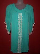 """NWT """"Trixxi"""" Wm's sz XL Mint lined w/off-wt tassels & embroidered front dress"""