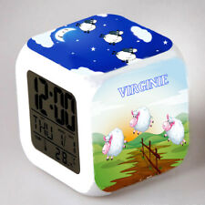 Reveil cube led lumière nuit alarm clock saute mouton personnalisé prénom réf 08