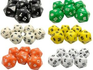Poly Dice D20's. Various Colours packs of 6. TWENTY sided dice