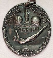 ANTIQUE DIEGES & CLUST STERLING SILVER VICTORIAN SWIM SWIMMING MEDAL DIVER 1926