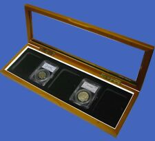Wood Glass-top Display Box for Five Certified PCGS NCG Little Bear Coin Slabs