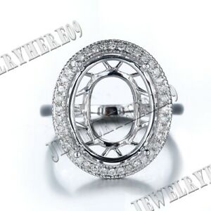 Solid 14K White Gold Solitaire Oval 15x12mm Diamonds Engagement Semi Mount Ring