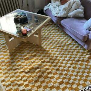 Gorgeous Rug Handmade Carpet Checkred Boho Hallway Stunning Runner Wool Yellow