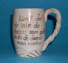 Gujab Swedish Studio Pottery - Attractive Motto Ware Stringed Style Handle Mug.
