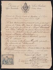 E6134 FRANCE 1871 BAPTISM ACT WITH IMPUESTOS REVENUE STAMP.
