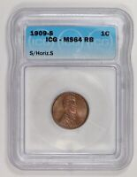 Small Cents Lincoln, Wheat Ears Reverse 1909 S/ Horizontal S ICG MS-64 RB
