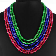 BEST QUALITY 655.00 CTS NATURAL RUBY,EMERALD & SAPPHIRE BEADS NECKLACE